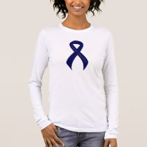 Dark Blue Ribbon Support Awareness Long Sleeve T-Shirt