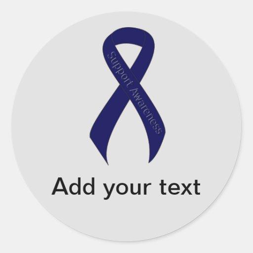 Dark Blue Ribbon Support Awareness Round Sticker