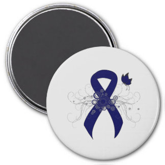 Dark Blue Ribbon with Butterfly 3 Inch Round Magnet