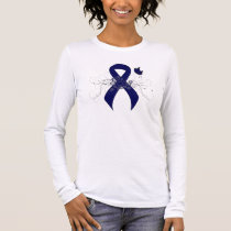 Dark Blue Ribbon with Butterfly Long Sleeve T-Shirt