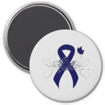 Dark Blue Ribbon with Butterfly Magnet
