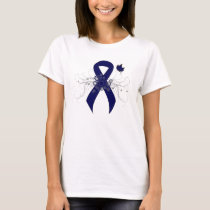 Dark Blue Ribbon with Butterfly T-Shirt