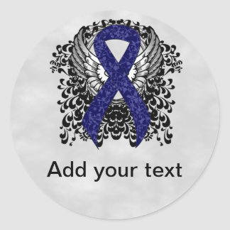 Dark Blue Ribbon with Wings Classic Round Sticker