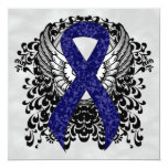 Dark Blue Ribbon with Wings 5.25x5.25 Square Paper Invitation Card