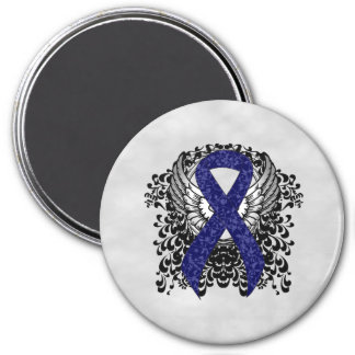 Dark Blue Ribbon with Wings Refrigerator Magnet