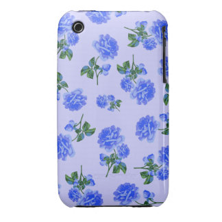 Dark Blue Roses floral pattern on purple iphone 3 Case-Mate iPhone 3 Case