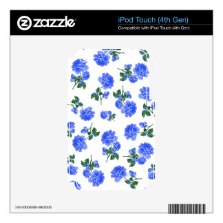 Dark Blue Roses floral pattern on White iPod Touch 4G Skin