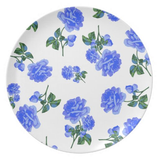 Dark Blue Roses floral pattern on White plate