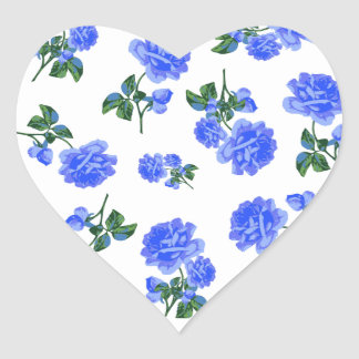 Dark Blue Roses floral pattern on White Stickers