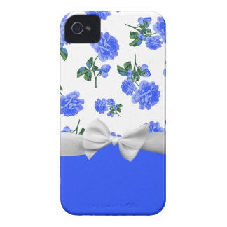 Dark Blue Roses floral pattern & white ribbon bow iPhone 4 Case