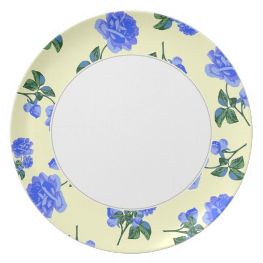 Dark Blue Roses pattern cream & white floral plate