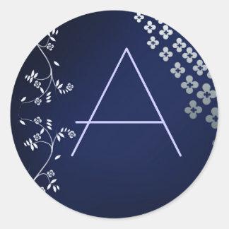 Dark blue round monogram sticker