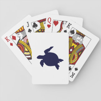 Dark Blue Sea Turtle Poker Cards