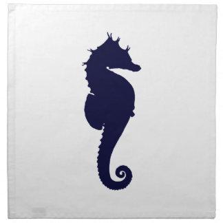 Dark Blue Seahorse Napkin