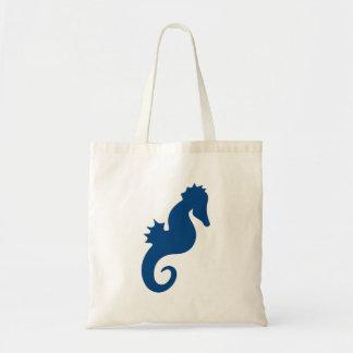Dark Blue Seahorse Silhouette Tote Bag