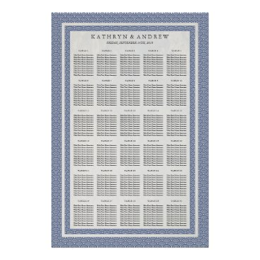Beach Themed Dark Blue Seigaiha Wedding/Event Seating Chart Poster