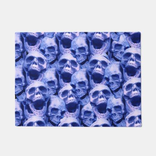 Dark Blue Skulls Doormat