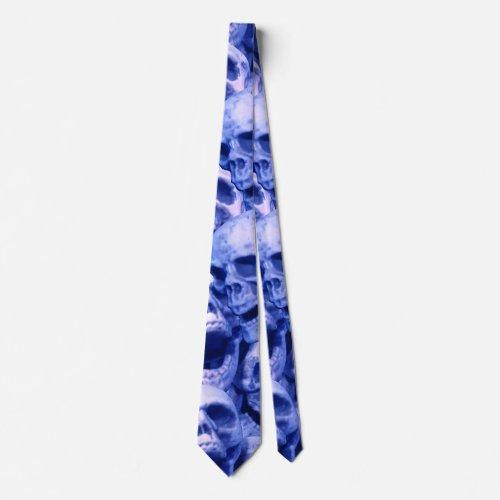 Dark Blue Skulls Tie