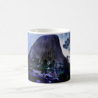 Dark Blue Sky and Ponderosa Pine at Devils Tower Coffee Mug