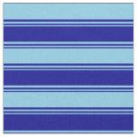 [ Thumbnail: Dark Blue & Sky Blue Colored Striped Pattern Fabric ]