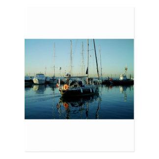 Dark Blue Sloop Leaving Harbor Postcard