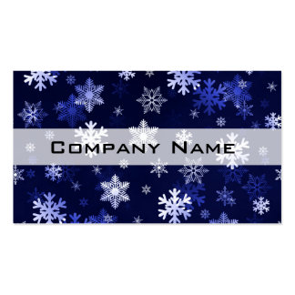 Dark Blue Snowflakes Business Card