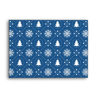 Dark Blue Snowflakes Christmas Trees Pattern Envelope