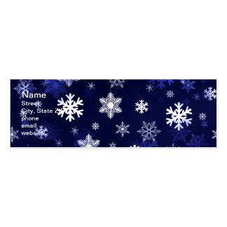Dark Blue Snowflakes Mini Business Card