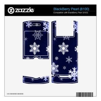 Dark Blue Snowflakes BlackBerry Pearl Decals