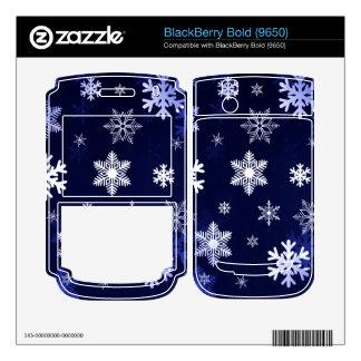 Dark Blue Snowflakes Decals For BlackBerry