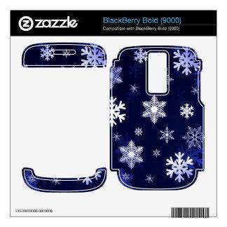 Dark Blue Snowflakes BlackBerry Decal