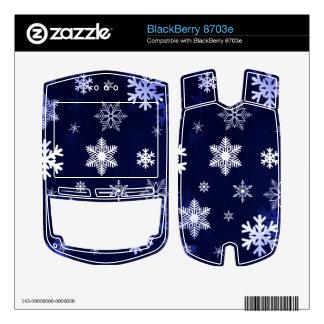 Dark Blue Snowflakes BlackBerry 8703e Decal