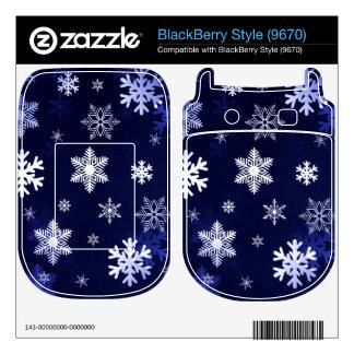Dark Blue Snowflakes BlackBerry Style Skin