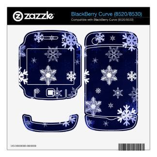 Dark Blue Snowflakes BlackBerry Curve Decals