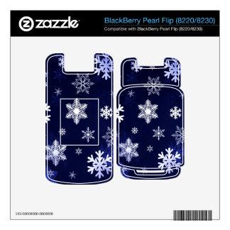 Dark Blue Snowflakes BlackBerry Pearl Skin