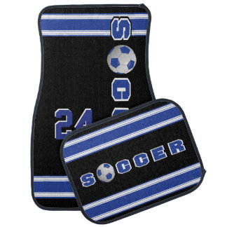 Dark Blue Soccer Ball Car Mat