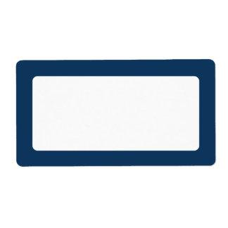 Dark blue solid color border blank shipping label