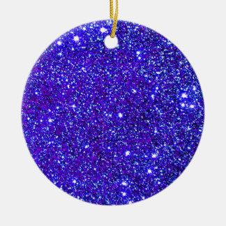 Dark Blue Sparkle Glitter Night Sky Starfield Star Ceramic Ornament
