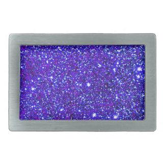 Dark Blue Sparkle Glitter Night Sky Starfield Star Rectangular Belt Buckle