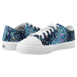 Dark Blue Sparkling Gold Glitter Low-Top Sneakers