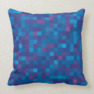 Dark blue  squares throw pillow