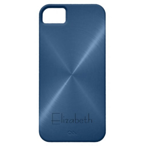 Dark Blue Stainless Steel Metal Look iPhone 5 Cases