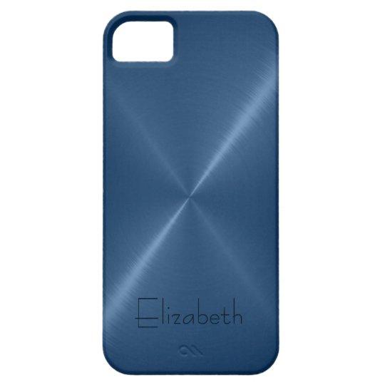 Dark Blue Stainless Steel Metal Look iPhone SE/5/5s Case