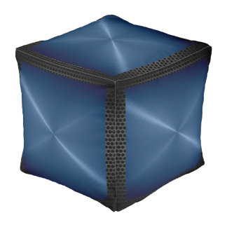 Dark Blue Stainless Steel Modern Metal Border Pouf