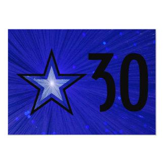Dark Blue Star 'Age' birthday black back Card