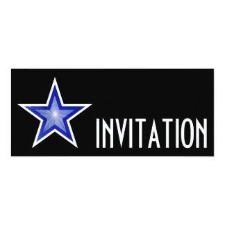 Dark Blue Star 'INVITATION' black long Card