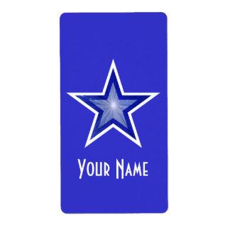 Dark Blue Star 'Name' label large blue