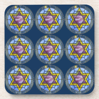 Dark Blue Star of David Coaster Set