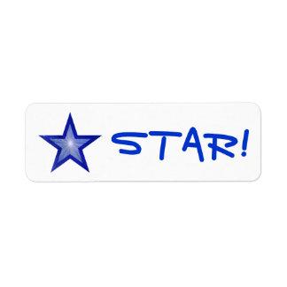 "Dark Blue Star ""STAR!"" label small white"