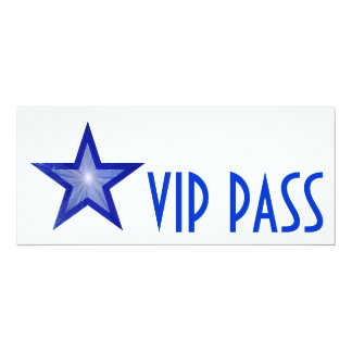 Dark Blue Star 'VIP PASS' invitation white long